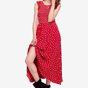 NEW Free People Polka Dot Midi Dress Sz Small